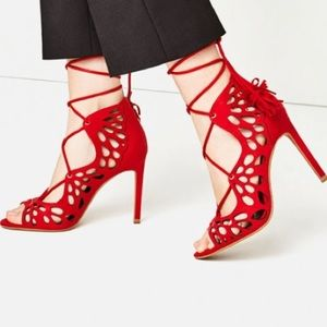 Zara Laser Cut Lace Up Heels